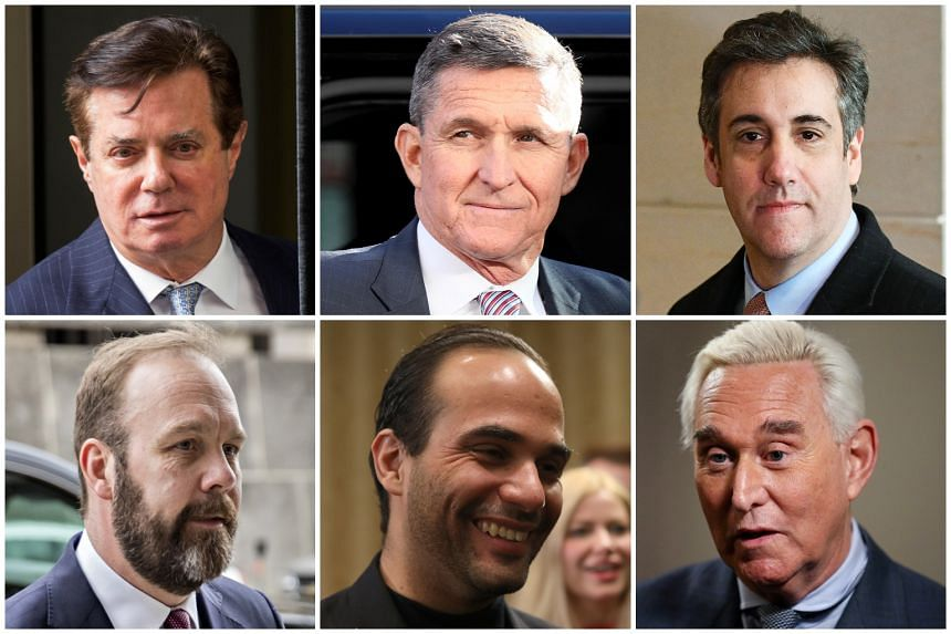 (Top row, from left) Former Trump campaign chairman Paul Manafort; former National Security Adviser General Michael Flynn; and US President Donald Trump's former personal lawyer Michael Cohen.