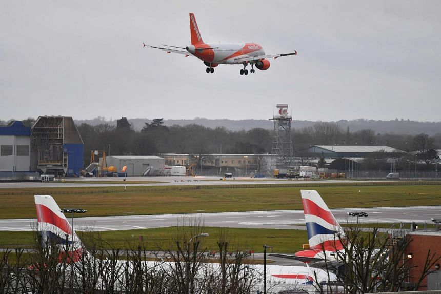 An EasyJet plane prepares to land at Britain's Gatwick Airport near London.