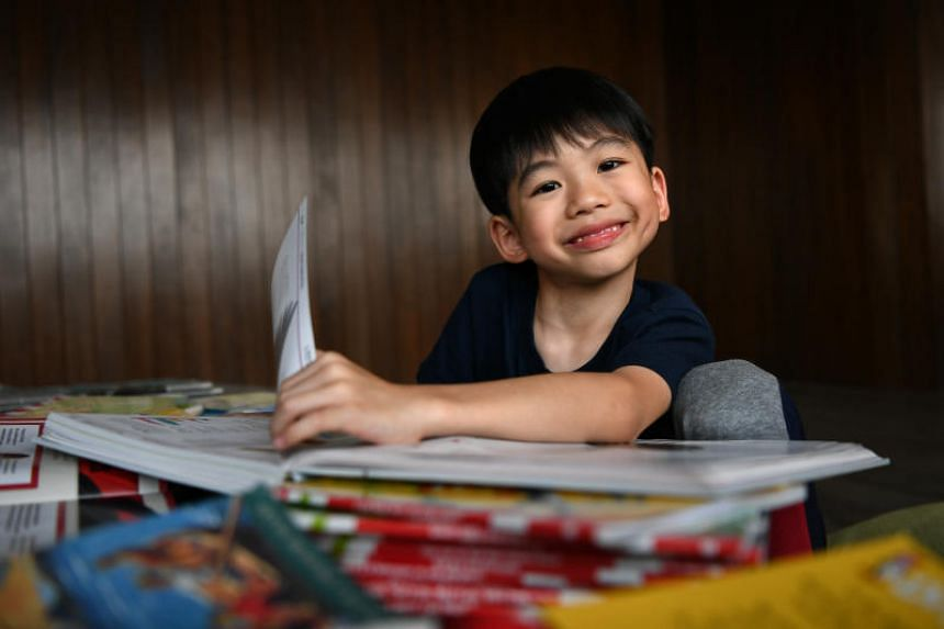 Ethan Tan reads above his age group, including novels such as the How To Train Your Dragon series.