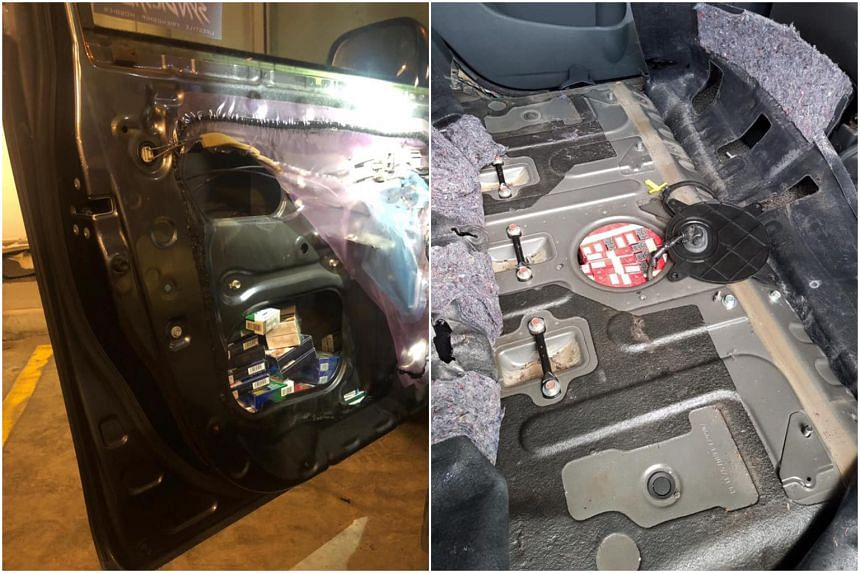 Duty-unpaid cigarettes were hidden in places such as car door panels and floorboards.