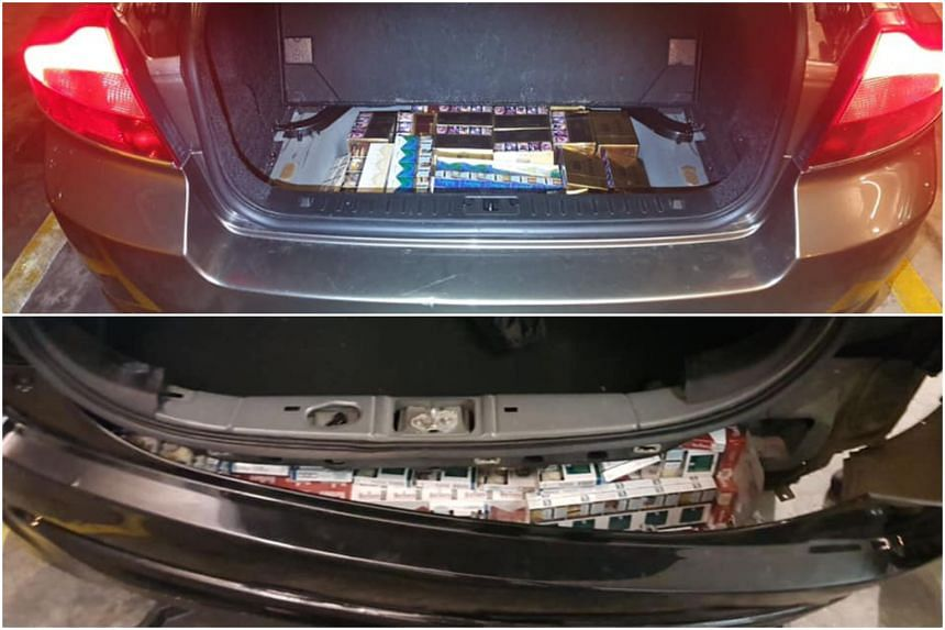 Duty-unpaid cigarettes were hidden in places such as car boot panels and bumpers.