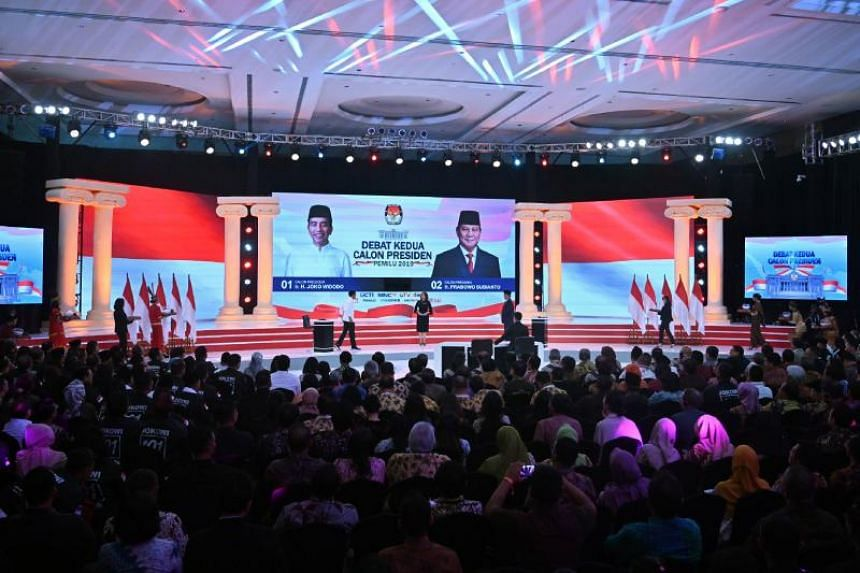 The second presidential debate between Indonesian incumbent President Joko Widodo and candidate for president Prabowo Subianto in Jakarta on Feb 17, 2019.