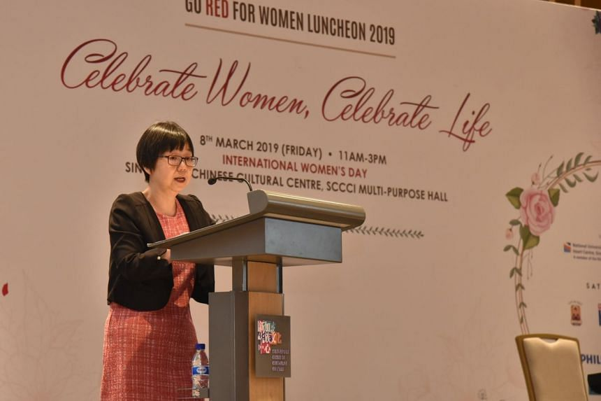"""Cardiologist Goh Ping Ping giving her opening address at the Go Red For Women Luncheon on March 8, 2019. She said that """"cardiovascular disease has been historically perceived as a man's disease, which is a misconception""""."""