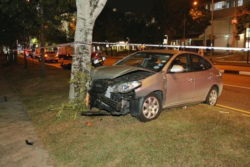 One of the cars mounted the kerb and crashed into a tree.