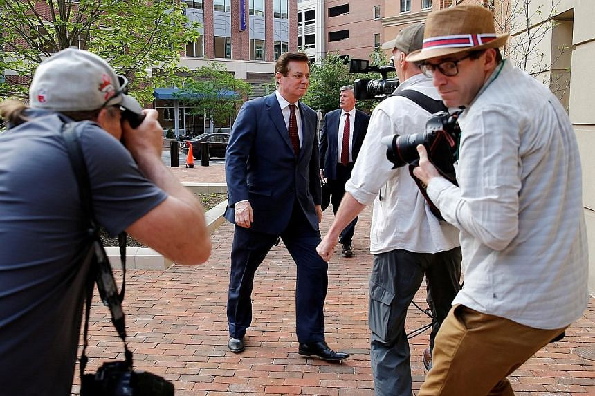 President Donald Trump's former campaign chairman Paul Manafort arriving at a US District Court in Virginia in May last year. The charges against the 69-year-old involved work he did for 10 years on behalf of Moscow-allied politicians in Ukraine, and
