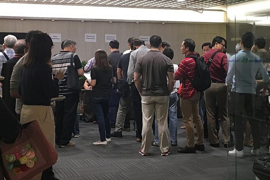 A town-hall meeting for Hyflux perpetual securities and preference shareholders last month. The Straits Times understands that the senior unsecured creditors gave up $40 million of their $84 million share, which is what they would have received if th