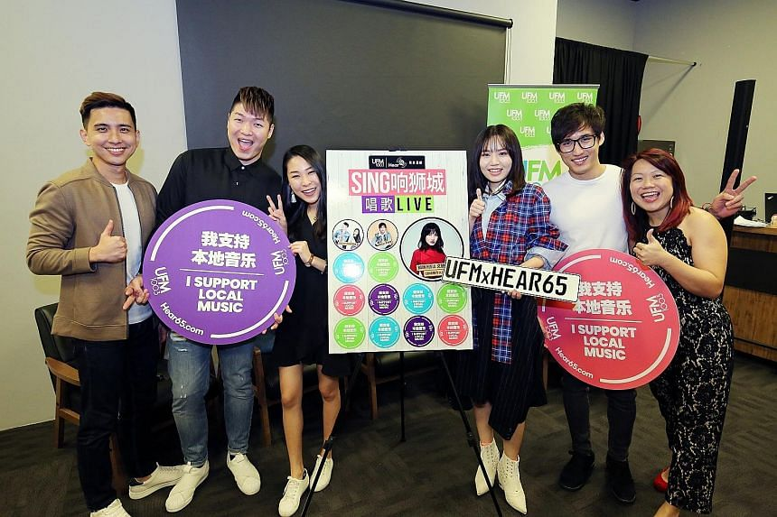 (From far left) UFM100.3 presenter-producer Andrew Zhan; The Cold Cut Duo members Wilson Wong and Gwendolyn Lee; Singaporean singer-songwriter Boon Hui Lu; home-grown musician Marcus Lee Jun Wei; and Ms Christie Ng, UFM100.3's assistant programme dir