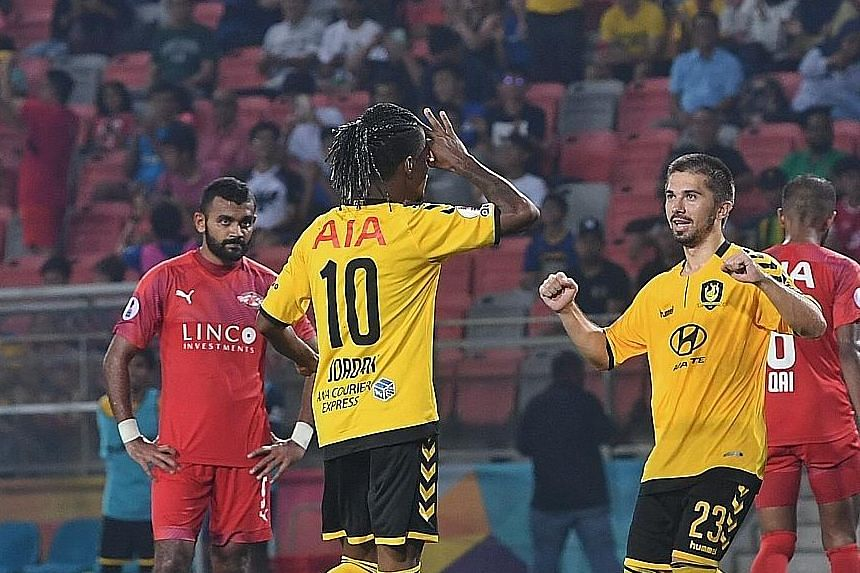 Tampines Rovers' Jordan Webb celebrating with Zehrudin Mehmedovic after scoring their fifth goal against Home United from the spot. Home, who beat Albirex Niigata in the Community Shield on penalties, have started the season poorly. They have a draw