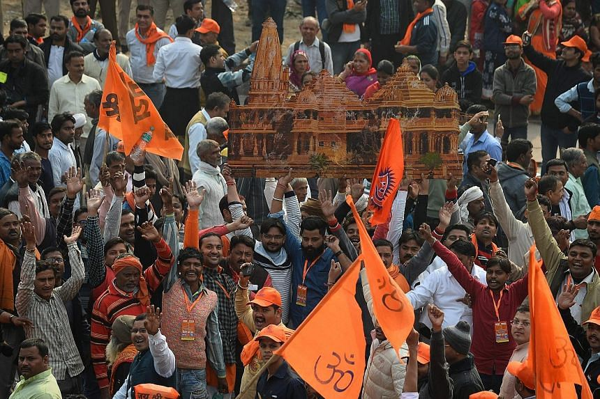 Hindu hardliners rallying in New Delhi last year for the construction of a temple on the site of the demolished 16th-century Babri mosque in Ayodhya.