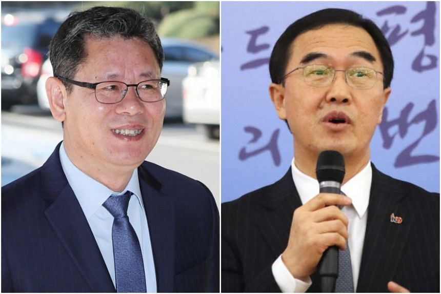 Mr Kim Yeon-chul (left), a pro-engagement scholar, will take over South Korea's Unification Ministry from Mr Cho Myoung-gyon, who played a major role in detente with North Korea over the past year.