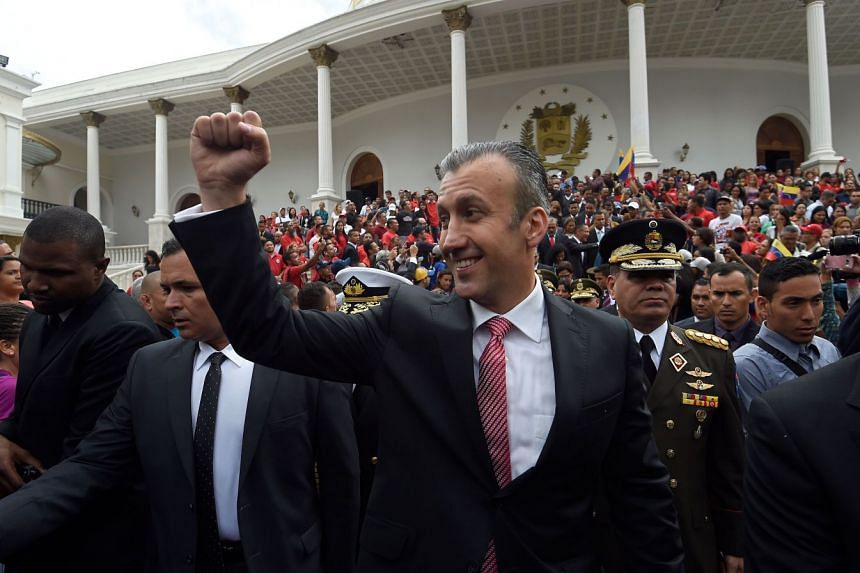 Tareck El Aissami leaves an Independence Day ceremony at the National Assembly building in Caracas in 2017.