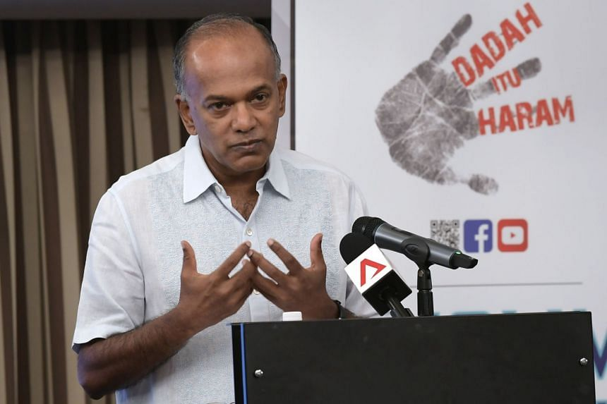 Minister for Home Affairs and Law K. Shanmugam speaking at a Dadah Itu Haram Appreciation Lunch, on March 9, 2019.