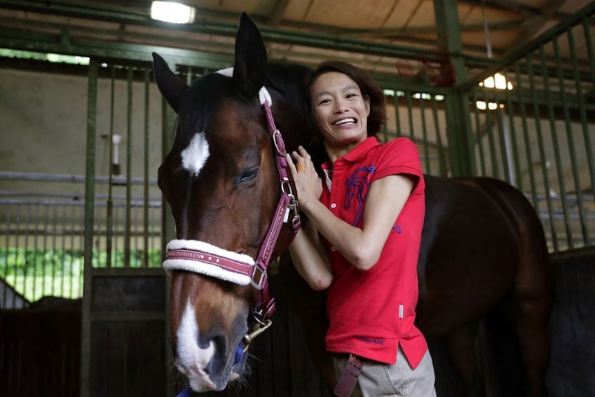 Para-equestrienne Laurentia Tan posing for a photo with horse Dreamer, on Oct 11, 2018.