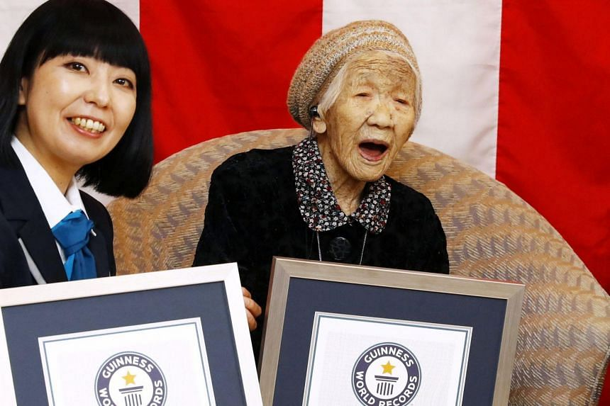 Kane Tanaka was presented with a certificate of her title at the nursing home where she now lives in the south-western city of Fukuoka on March 9, 2019.