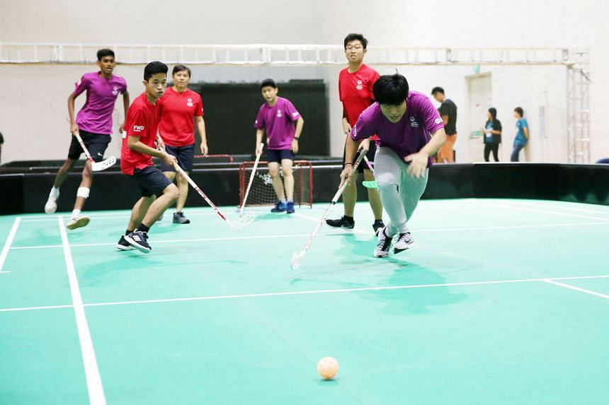 A floorball game at last year's edition of Play Inclusive, co-organised by Special Olympics Singapore and SportCares, with the support of the Ministry of Education. The event drew about 450 students from special education and mainstream schools who t