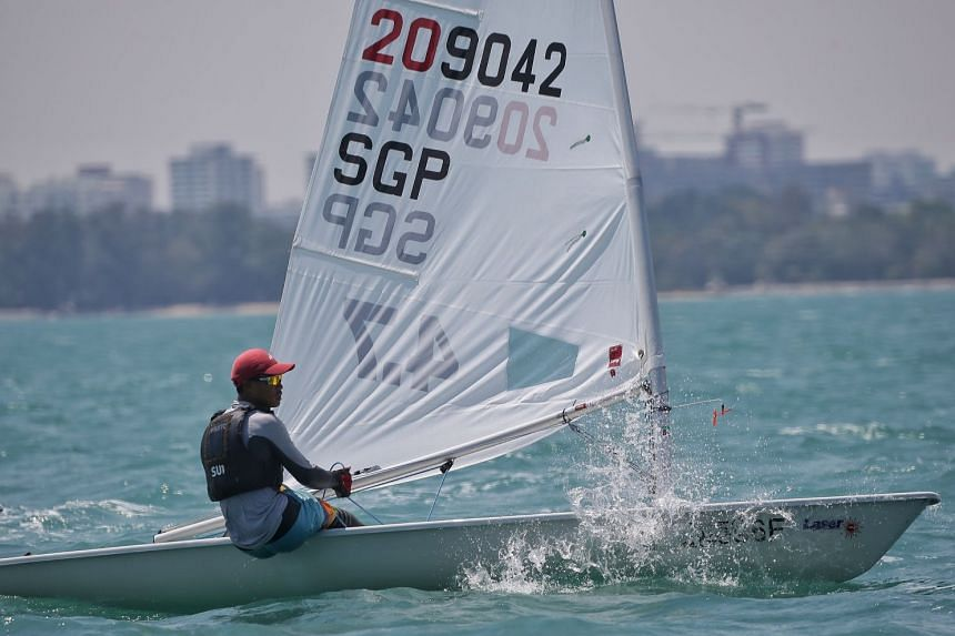 Singapore's Jonathan Lio was third in the only Laser 4.7 race on the final day of Asian Open Laser Championships on March 9, 2019 and finished first overall.