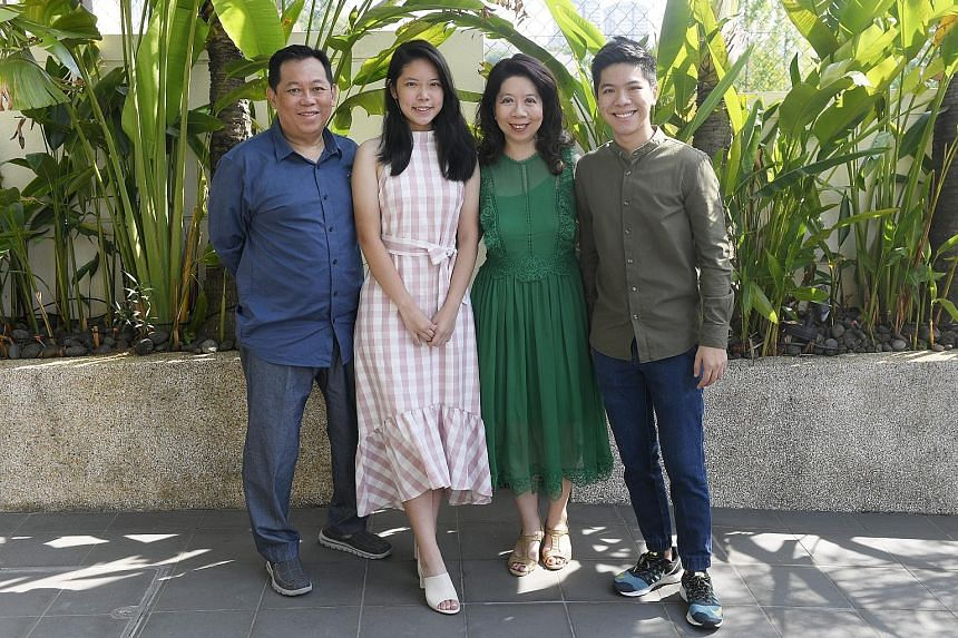Natixis Investment Managers executive managing director and head of wholesale fund distribution for Asia-Pacific Madeline Ho with her husband, Mr Tan Wei Kuan, and their two children, Brian and Chloe.