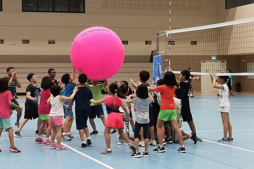 Children participating in the kin-ball holiday programme last December at the ActiveSG Tampines Sports Centre at Our Tampines Hub.