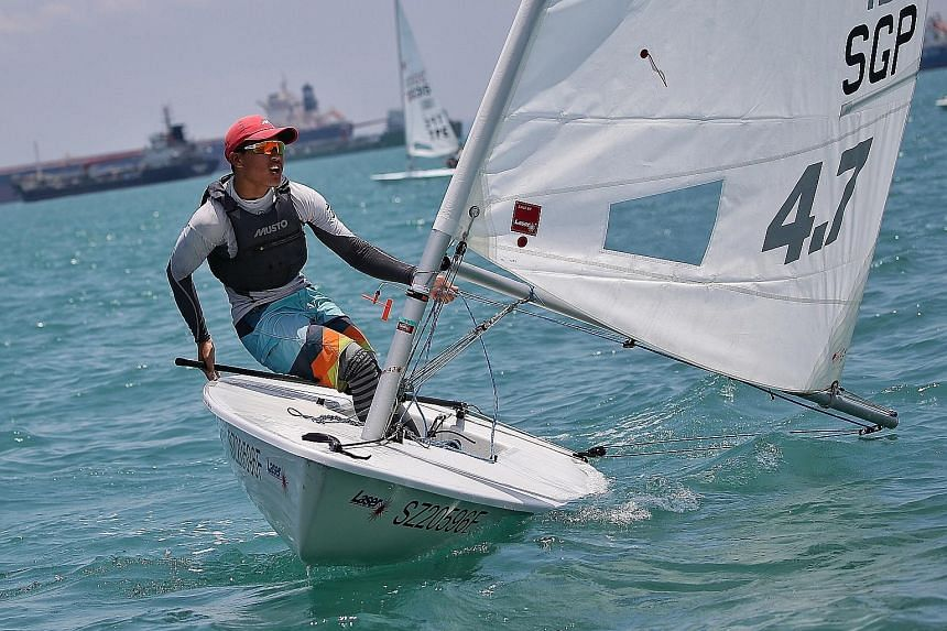 Singapore's Jonathan Lio on his way to third place in the only Laser 4.7 race on the final day of the Asian Open Laser Championships yesterday, to seal victory in the event.