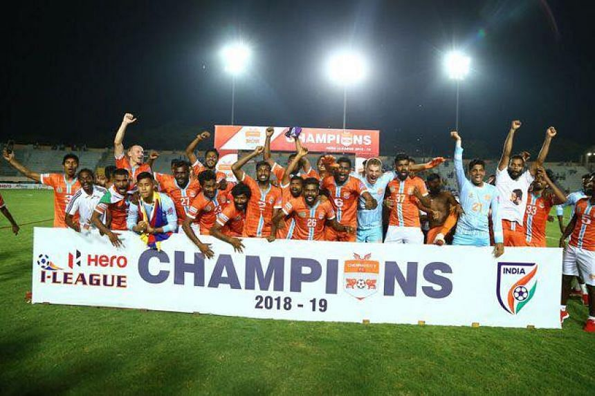 Chennai City players celebrating winning their first I-League title after beating Minerva Punjab 3-1 in their final match of the 2018-2019 season on Saturday.