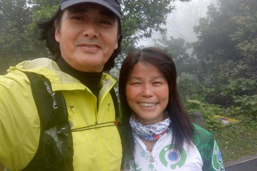 "Hong Kong actor Chow Yun Fat seen here with ""Sister Lin"", the owner of Tai Mo Shan Kiosk."