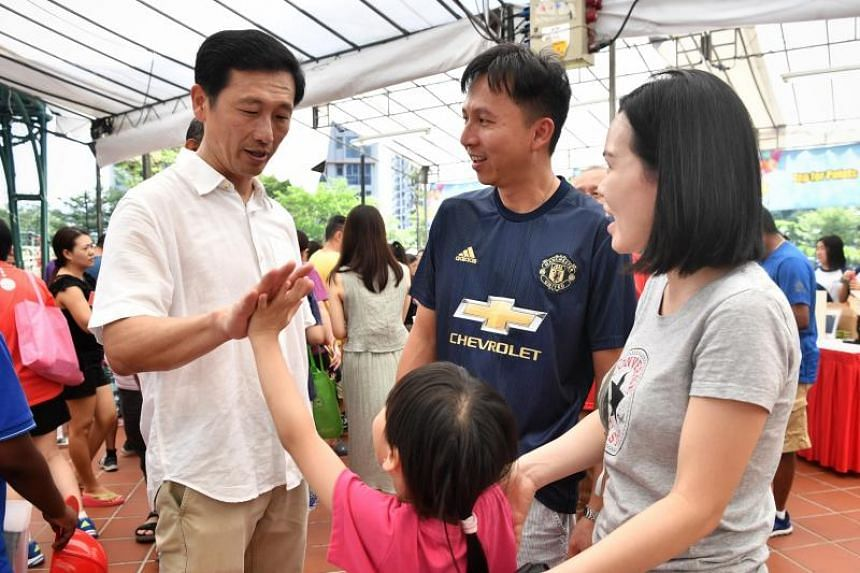 Education Minister Ong Ye Kung with residents at the Canberra Day 2019 event on March 10, 2019.