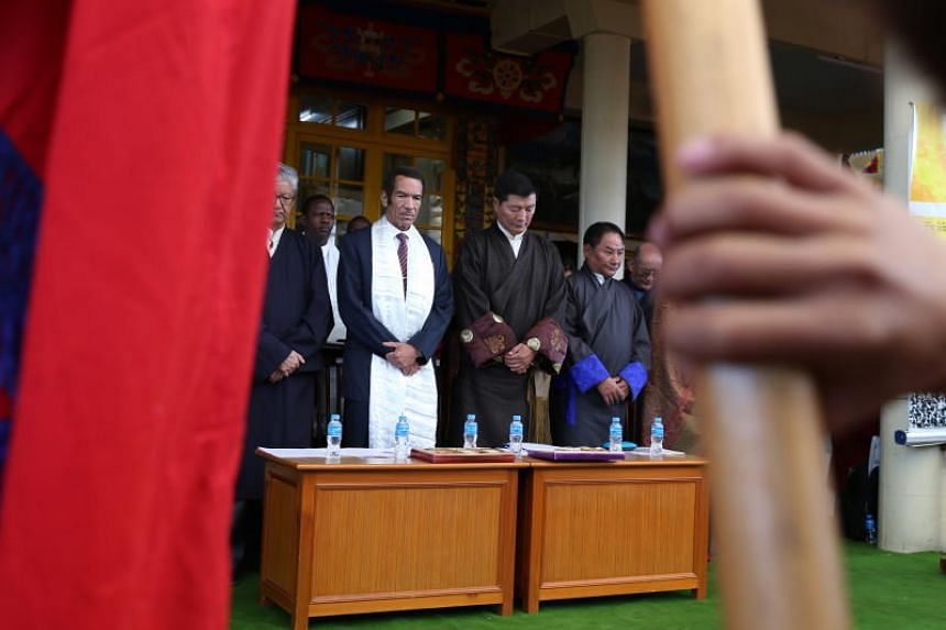 Mr Lobsang Sangay (third from right), prime minister of the Tibetan government-in-exile, at an event marking the 60th anniversary of the Tibetan National Uprising Day in McLeod Ganj near Dharamsala on March 10, 2019.