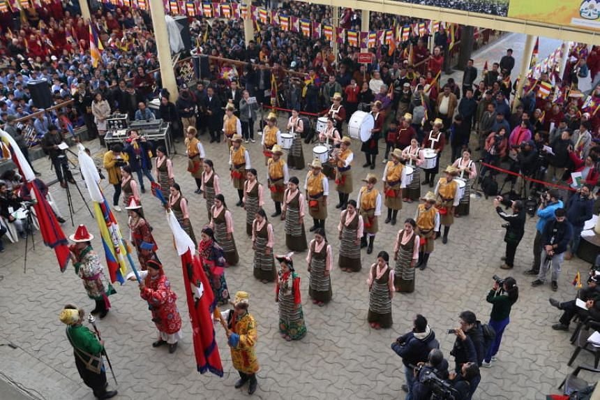 Performers dressed in traditional attire danced and recited Tibetan songs at the temple for guests, which organisers said included parliamentarians from 10 nations.