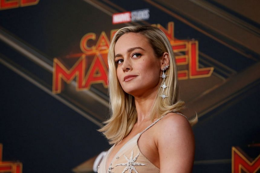Brie Larson poses at the premiere for the movie Captain Marvel in Los Angeles, California.