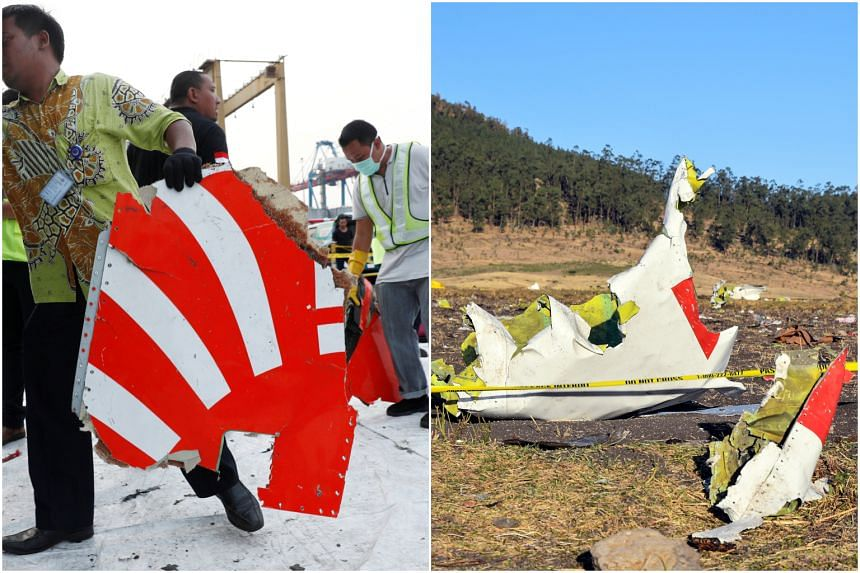 (Left) Workers loading up recovered debris believed to be from a Lion Air Boeing 737 that crashed in Indonesia in October 2018 and (right) wreckage at the crash site of Ethiopia Airlines Boeing 737 Max 8 on March 10, 2019.
