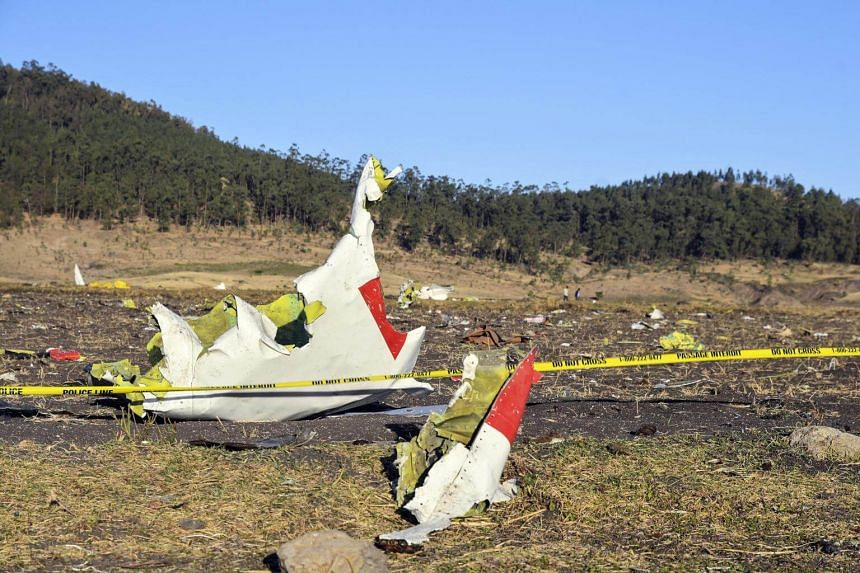 Wreckage seen at the crash site of Ethiopia Airlines Flight ET 302 en route to Nairobi, Kenya, near Bishoftu, Ethiopia, on March 10, 2019.