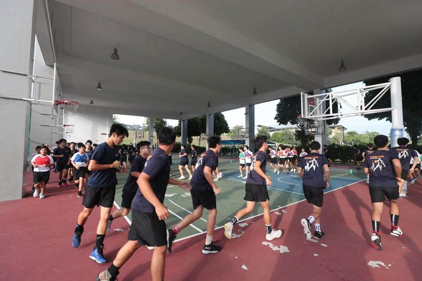 The Christ Church Secondary School basketball team trains at the basketball court on Fridays.