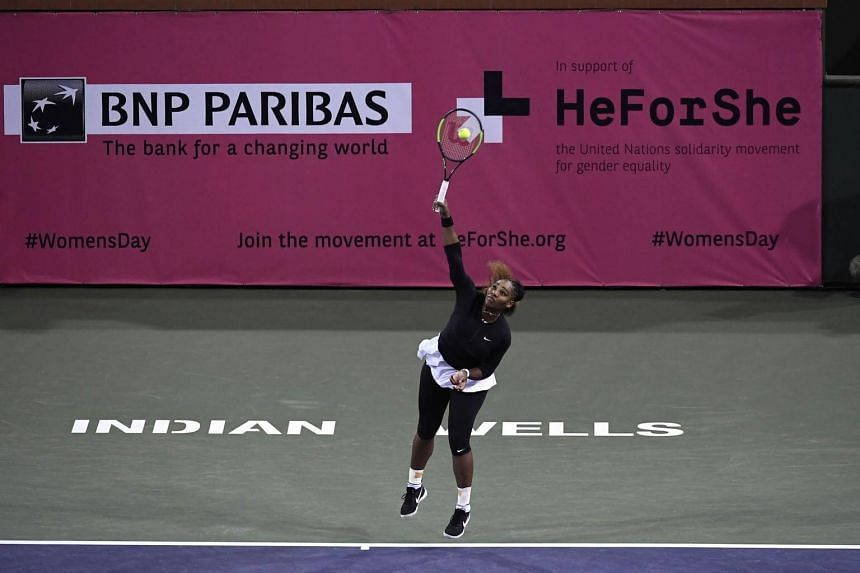 Serena Williams serves during her women's singles second round match during day five of the BNP Paribas Open in Indian Wells, California, on March 8, 2019.