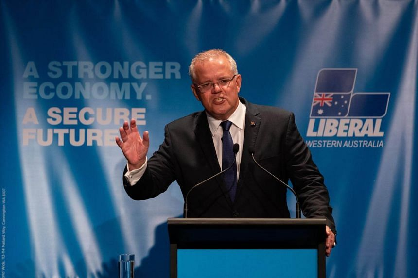 Australian PM Scott Morrison speaking at the Liberal Party meeting of State Council in Perth, Australia, on March 9, 2019.