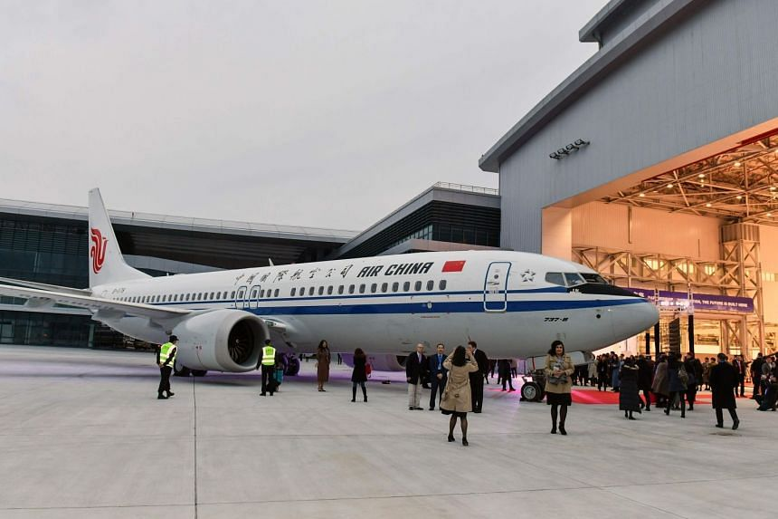 A Boeing 737 MAX 8 airplane delivered to Air China during a ceremony at Boeing Zhoushan 737 Completion and Delivery Center in Zhoushan, in China's eastern Zhejiang province.