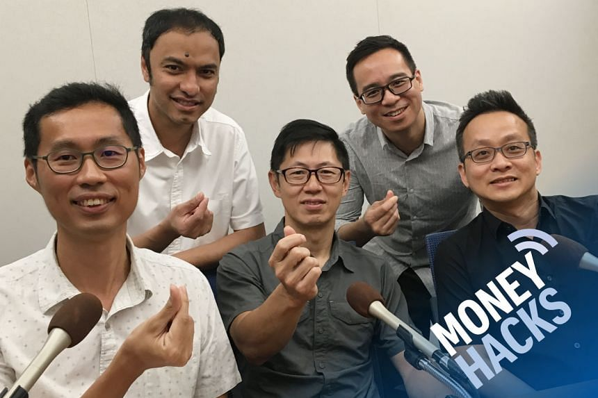 Money Hacks hosts Ernest Luis (back row, left) and Chris Lim host the co-founders of Aggregate Asset Management (from row from left) - Wong Seak Eng, Eric Kong and Kevin Tok - as they talk about value investing in equities or stocks.
