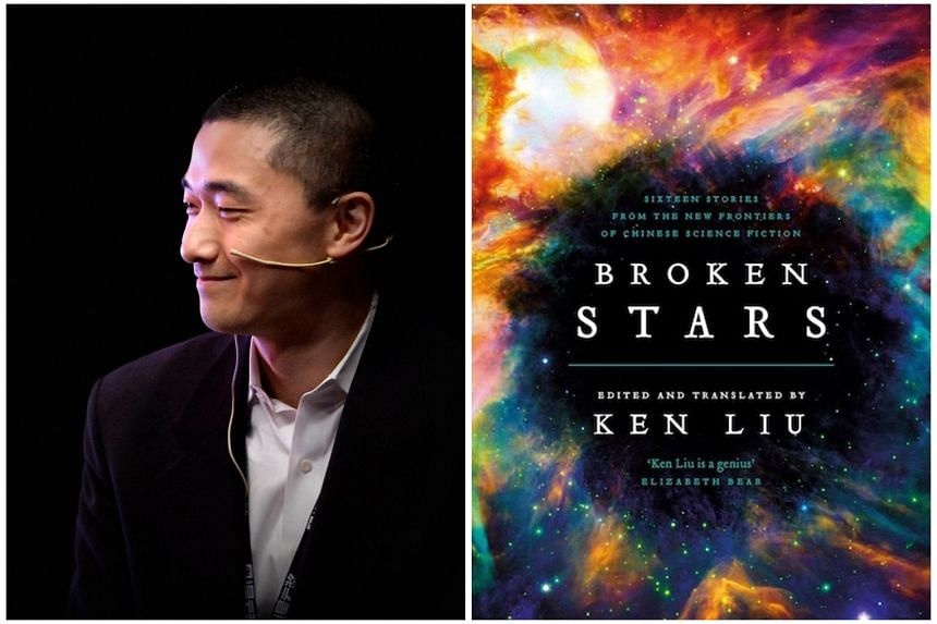 Author Ken Liu (left) edits and translates 16 Chinese science-fiction stories into English in Broken Stars (right).