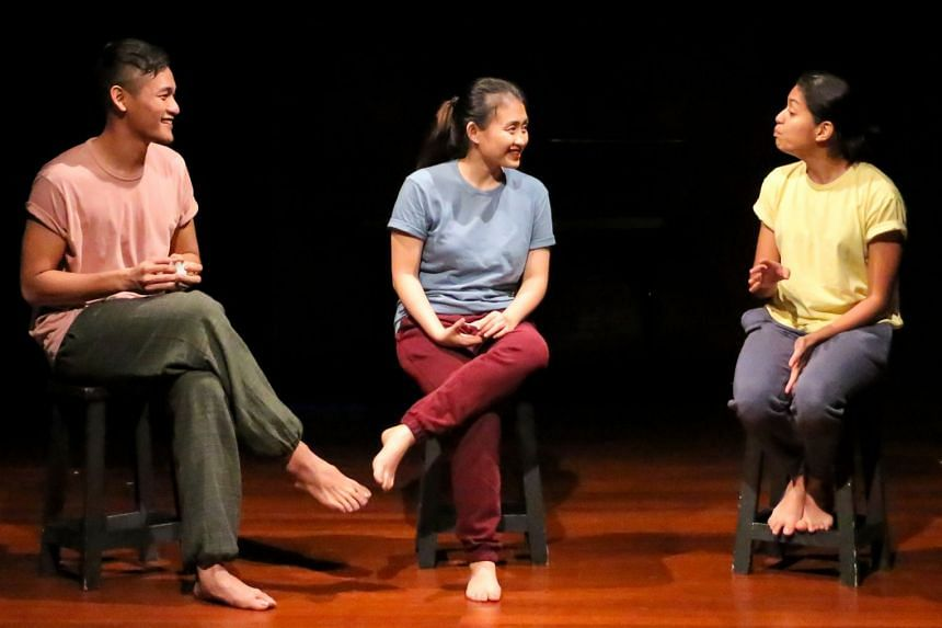 Performers (from left) Ali Alasri, Darynn Wee and Hannan Barakbah lead improvisation in Are You Game?