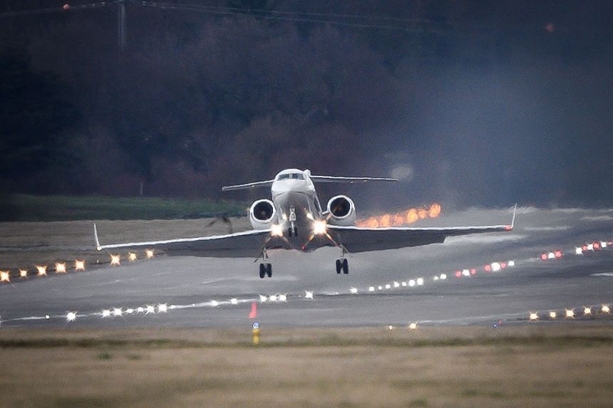 An Algerian government plane believed to be carrying Bouteflika is seen taking off at Geneva airport.