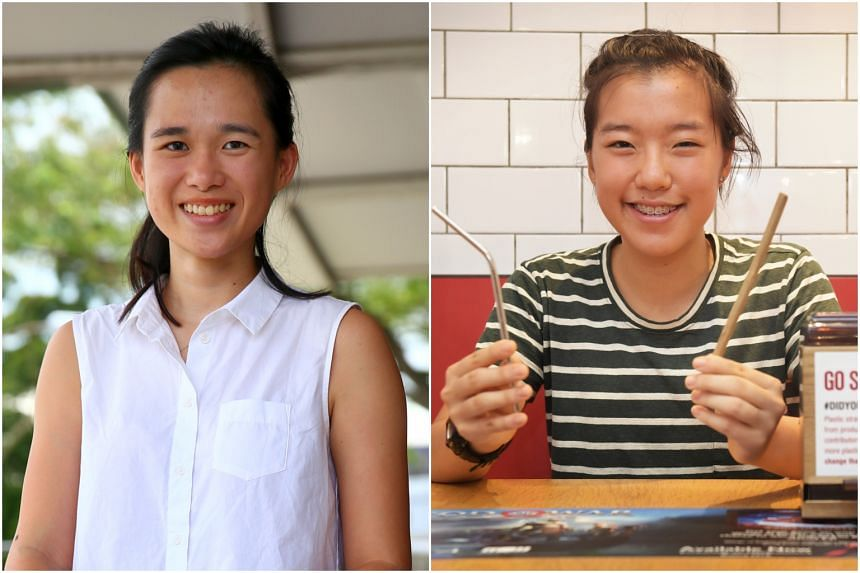 Ms Pamela Low (left) and Ms Ang Zyn Yee both started environmental friendliness campaigns in Singapore in 2018.