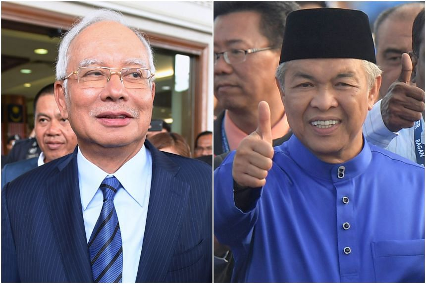 Former prime minister Najib Razak (left) and Umno president Ahmad Zahid Hamidi were both absent from the opening of Malaysia's Parliament on March 11, 2019.