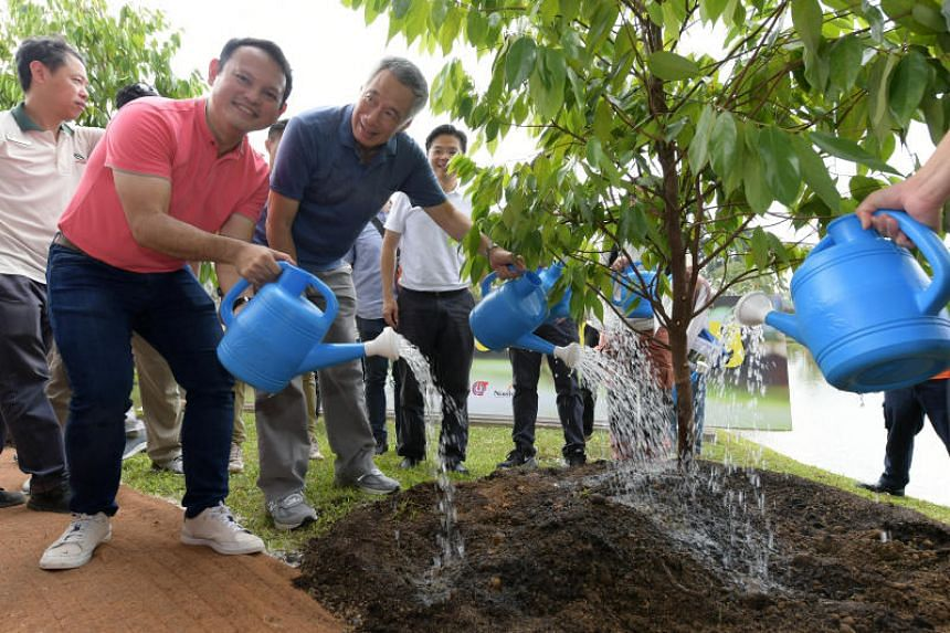 Prime Minister Lee Hsien Loong (right) and Minister of State for National Development and Manpower Zaqy Mohamad taking part in a tree-planting activity as part of the annual Marsiling Community Day on March 10, 2019.