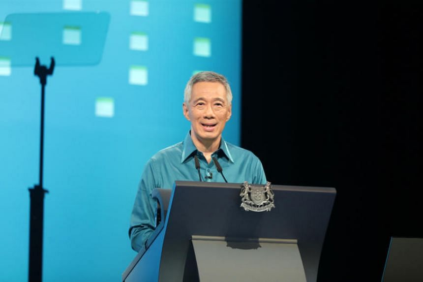 Prime Minister Lee Hsien Loong delivering his National Day Rally 2018 speech at ITE Ang Mo Kio on Aug 19 last year. This year will see PM Lee giving his 16th Rally speech.
