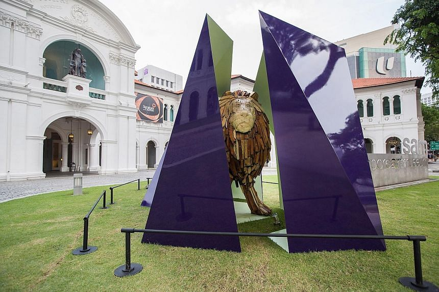 Artist Zulkifle Mahmod's Raising Spirits And Restoring Souls (below), commissioned for the Singapore Art Museum's 5 Stars exhibition in 2015, has been adapted into a portable, interactive artwork (left) for the SAM Touch Collection. Artist David Chan