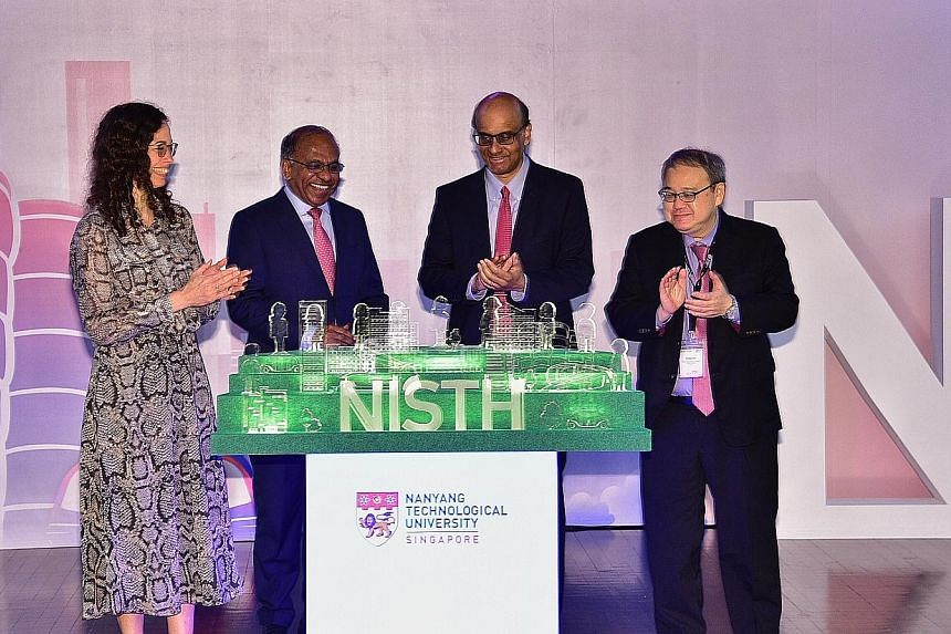 At the launch of the NTU Institute of Science and Technology for Humanity (NISTH) yesterday were (from left) the University of Twente's Professor Vanessa Evers, who will join NTU on Aug 1 and be head of the new institute; NTU president Subra Suresh;