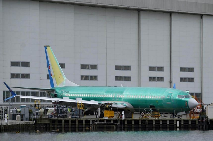 A Boeing 737 Max 9 sits outside of the factory in Renton, Washington, on March 11, 2019.