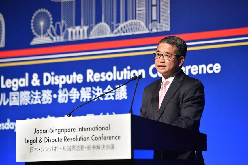 Senior Minister of State for Law Edwin Tong speaks at the first Japan-Singapore International Legal & Dispute Resolution Conference in Tokyo on March 12, 2019.