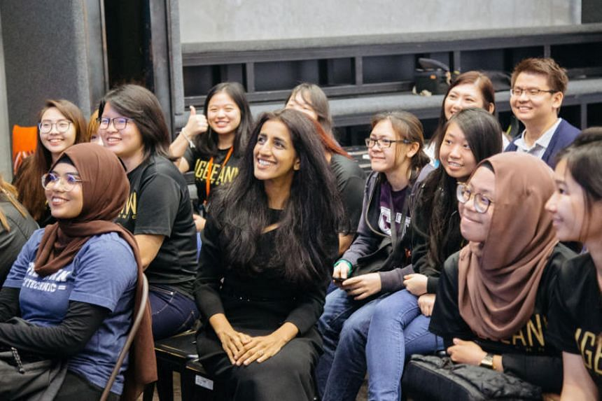 Dr Ayesha Khanna (centre), founder of coding organisation 21C Girls, with the pioneer batch of 25 girls in the Empower programme which ended in February 2019.
