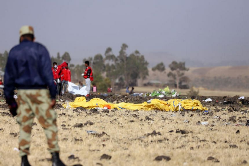 Members of the search and rescue mission look for the bodies of passengers at the scene of the Ethiopian Airlines Flight ET 302 plane crash, near the town of Bishoftu, Ethiopia on March 11, 2019.