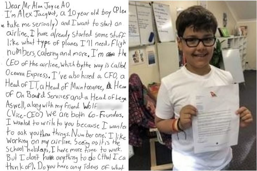 Australian boy Alex Jacquot, 10, wrote to the Qantas chief to ask for tips on establishing his own airline.